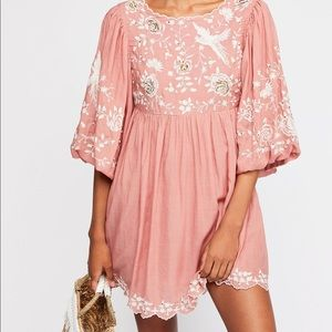 Free People Embroidered boho mini dress